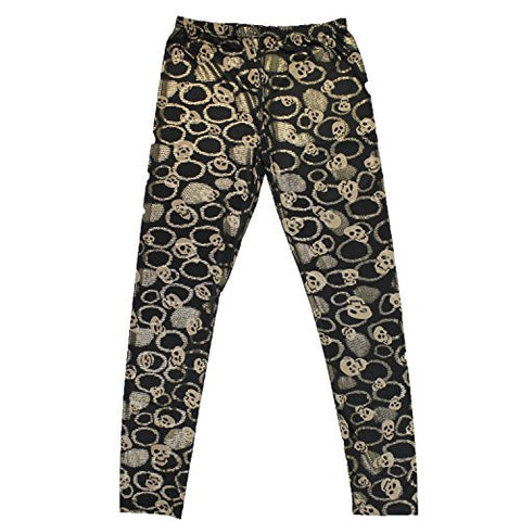 Halloween Costume Accessory Black Leggings with Tan Skulls and Gold Accents