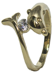 Women's 18 Kt Gold Plated Dress Ring Dolphin and CZ Wrap Around CZ 008