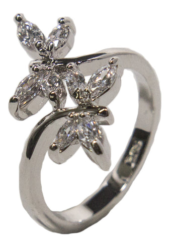 Women's Rhodium Plated Dress Ring Double Dragonfly Wrap Around CZ 024