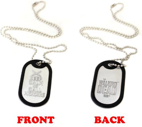 "Walking Dead Dog Tag Necklace ""Keep Calm And Call Michonne"""