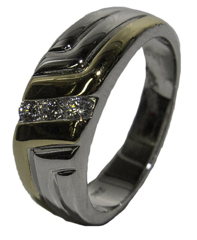 Men's Rhodium Plated Two Tone CZ Channel Band 033