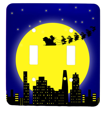 Santa In the City Christmas Tree Double Toggle Holiday Metal Light Switch Cover