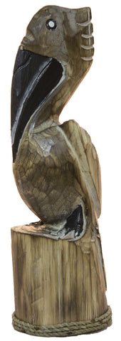 Hand Carved 13 Inch Wood Pelican Statue (Natual)