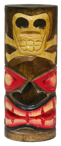 6 Inch Tall Hand Carved, Hand Painted Tiki Totem Pole  - Skull