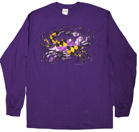 Purple Friday Baltimore Maryland Crab Purple Ripped Crab Men's Long Sleeve Shirt