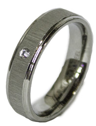 Men's Stainless Steel Dress Ring Single Round Cut CZ Band 081