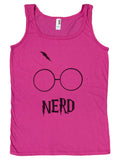 Ladies Glasses and Lightning Bolt Nerd Book Nerdy Loose Fit Tank Top