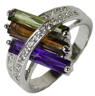 Women's Rhodium Plated Dress Ring Purple Red Green CZ 043