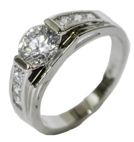 Men's Rhodium Plated Dress Ring Brilliant and Radiant Cut CZ 079