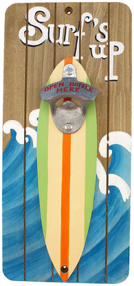Wood Surfs Up Bottle Opener Wall Plaque 13 Inch Shaped Surfboard Bar Decor