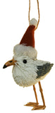 5.5 Inch Brush Seagull with Santa Hat Christmas Ornament