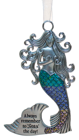 3.5 Inch Zinc Mermazing Mermaid Ornament- Seas the day
