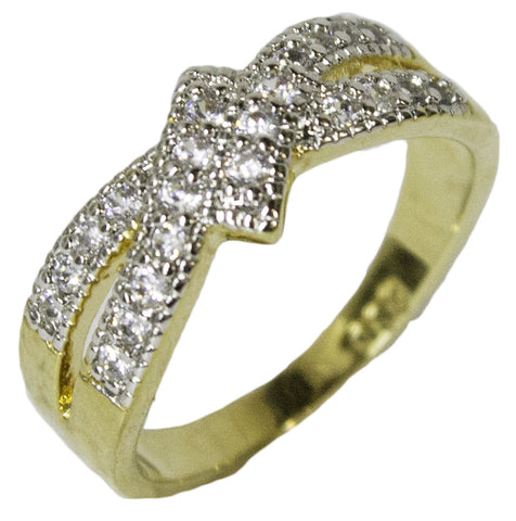 Women's 18 Kt Gold Plated Dress Ring Bypass Band with CZ 047