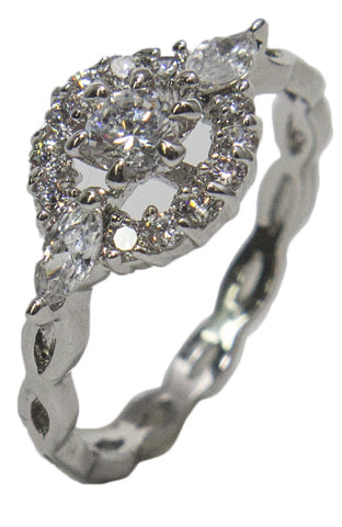 Women's Rhodium Plated Dress Ring Round and Marquise Cut CZ 001