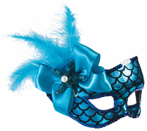 Blue Mermaid Half Mask w/ sequins, feather & Eyeglass Arms