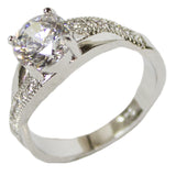 Women's Rhodium Plated Dress Ring Criss Cross Band Round Cut CZ 114
