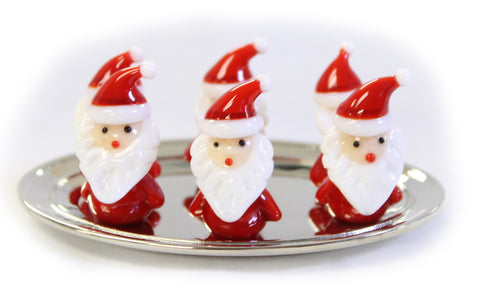 Set of 6 Miniature Santa Claus Glass Figurines with Display Dish (EX23164)