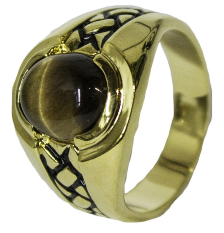 Men's 18 Kt Gold Plated Dress Ring Genuine Tiger Eye 068