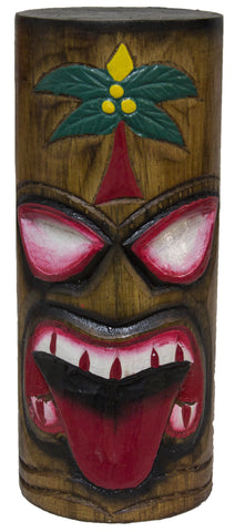 8 Inch Tall Hand Carved Tiki Wood Totem Pole (Palm)