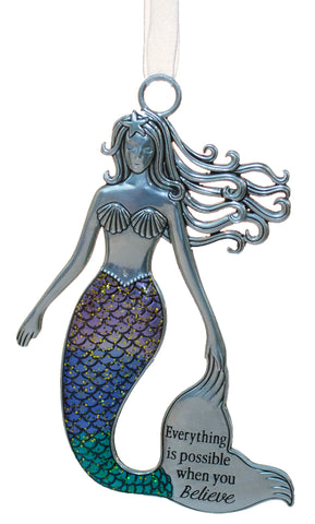 3.5 Inch Zinc Mermazing Mermaid Ornament- Everything is possible