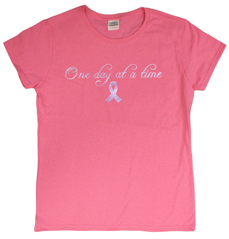 "Breast Cancer Awareness Ladie's Foil T-Shirt ""One Day At A Time"""