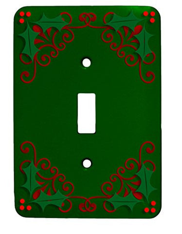 Holly Christmas Single Toggle Holiday Metal Light Switch Cover