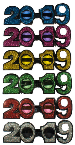 6 Pack Of 2019 New Years Eve Party Glasses (Classic Glitter)