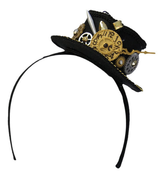 "2.5"" Steampunk Mini Top Hat Headband with Clock and Gears"