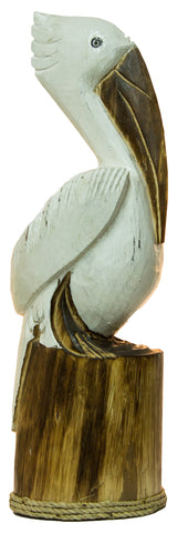 19 Inch Tall Solid Wood Pelican Statue Nautical Decoration (White)