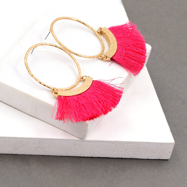 Hoop drop earrings with fringe bottom