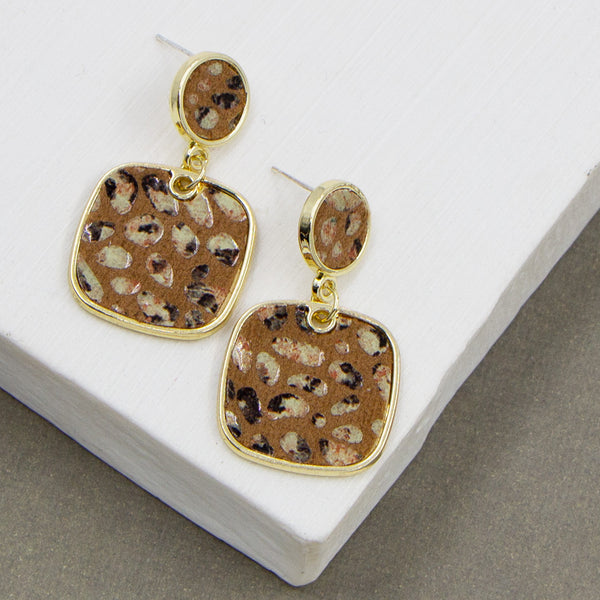 PU inlay drop earrings with metallic flecks