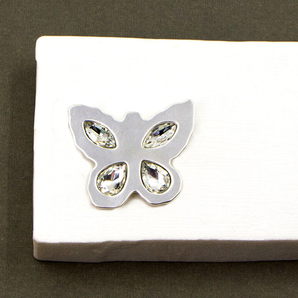Butterfly shape brooch with crystals