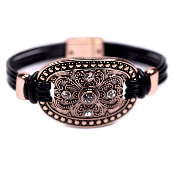 Leather bracelet with decorative centre feature and crystals
