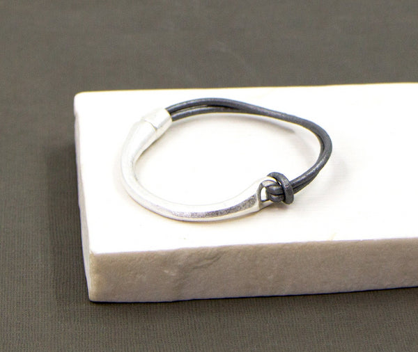 Half bangle half leather bracelet with magnetic clasp