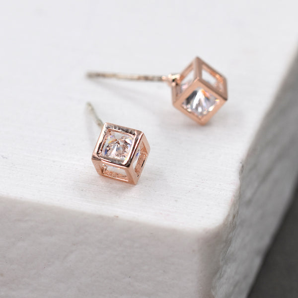 3D Hexogan shaped stud earrings with CZ crystals