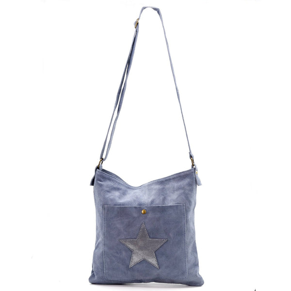 Cross body semi metallic star bag