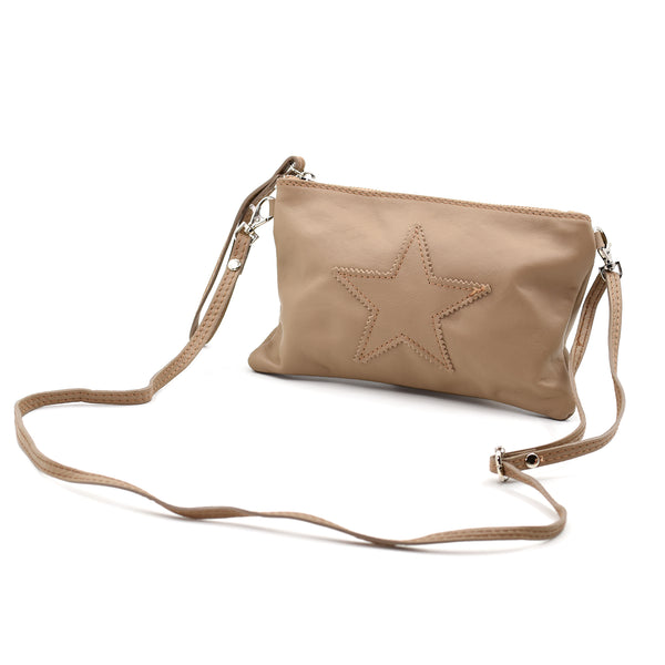Real Italian leather star purse with cross body strap