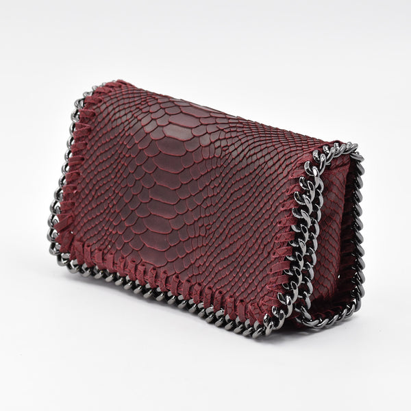 Crocodile patterned Italian leather clutch bag with shoulder chain
