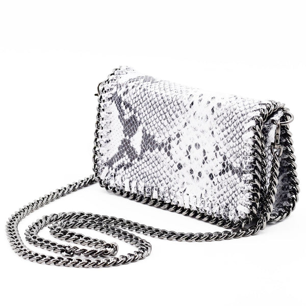 Italian leather snake print clutch bag with cross body chain