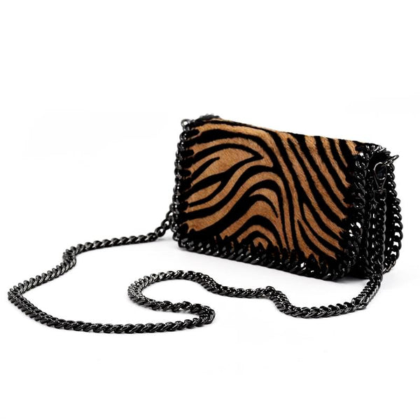 Horse hair clutch bag with shoulder chain