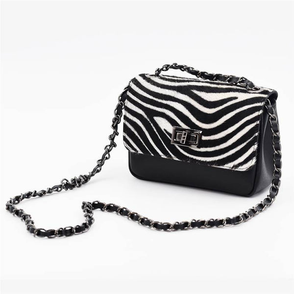 Cross body boxy bag with chain feature strap