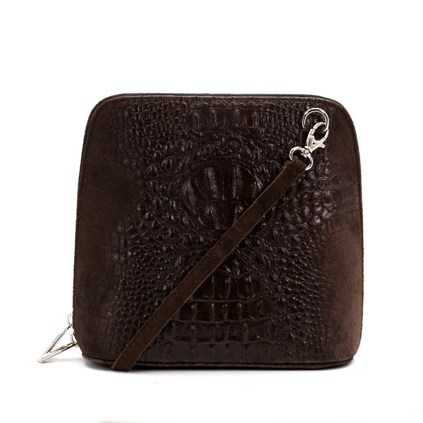 Crocodile patterned substantial Italian suede cross body bag