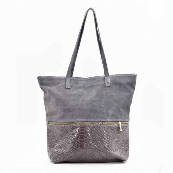 Crocodile mix suede tote bag with centre zip