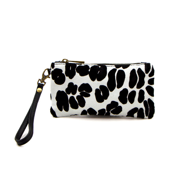White leo print horse hair coin pouch with hand strap