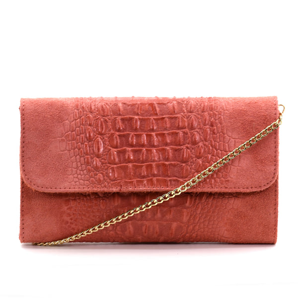 Crocodile patterned Italian leather suede clutch/cross body with gold chain