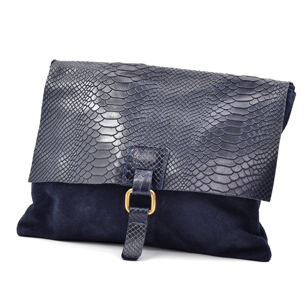 Crocodile effect italian leather cross body bag