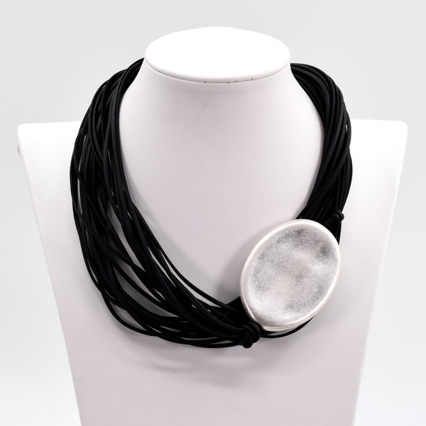 Multi-wax cord statement necklace with oval silver side feature