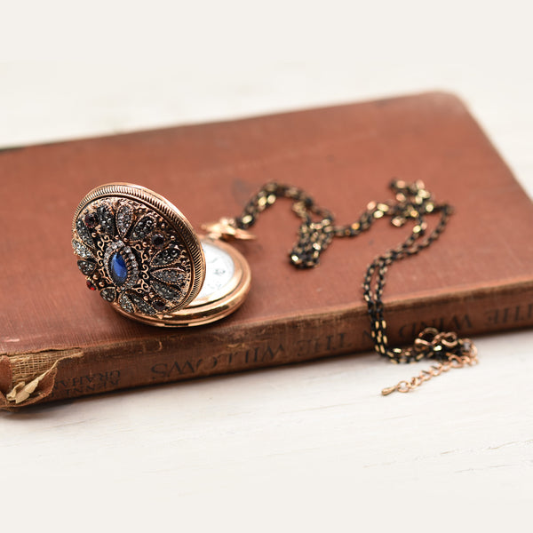 Victoriana style jewel covered watch pendant necklace