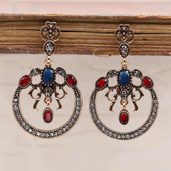 Open circle jewelled victoriana style earrings