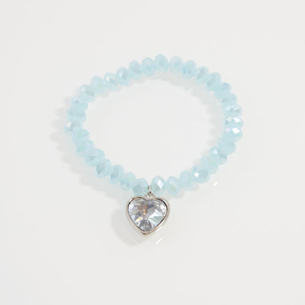 Cut glass simple bracelet with crystal heart